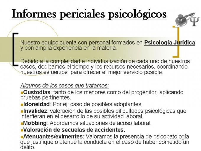 Informes periciales psicológicos